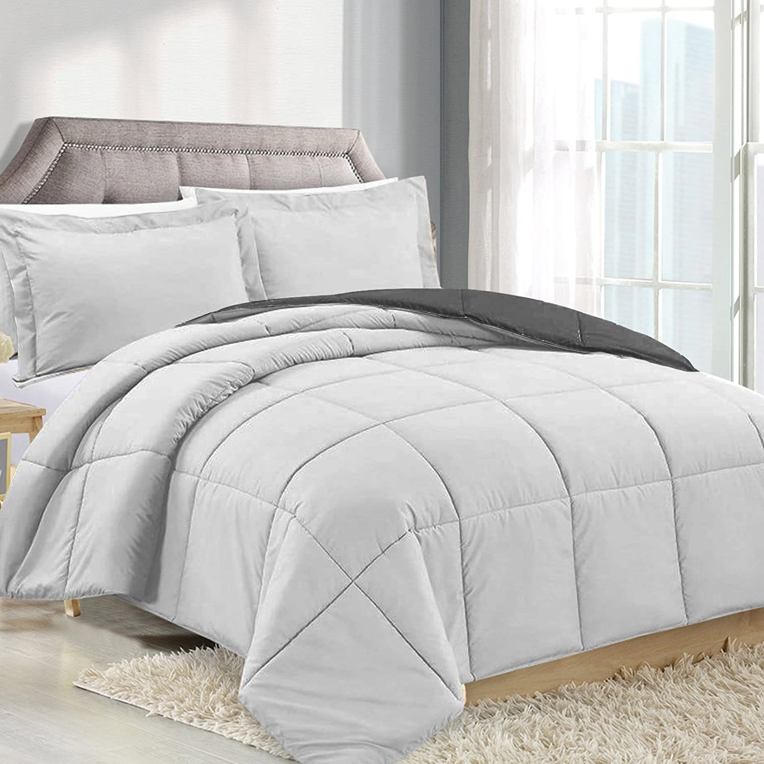 Twin Comforter Reversible Duvet Insert - White - Hypoallergenic, Plush Siliconized Fiberfill, Box Stitched, Luxury Goose Down Alternative Comforter, Protects Against Dust and Allergens Clara Clark COMIN18JU078429