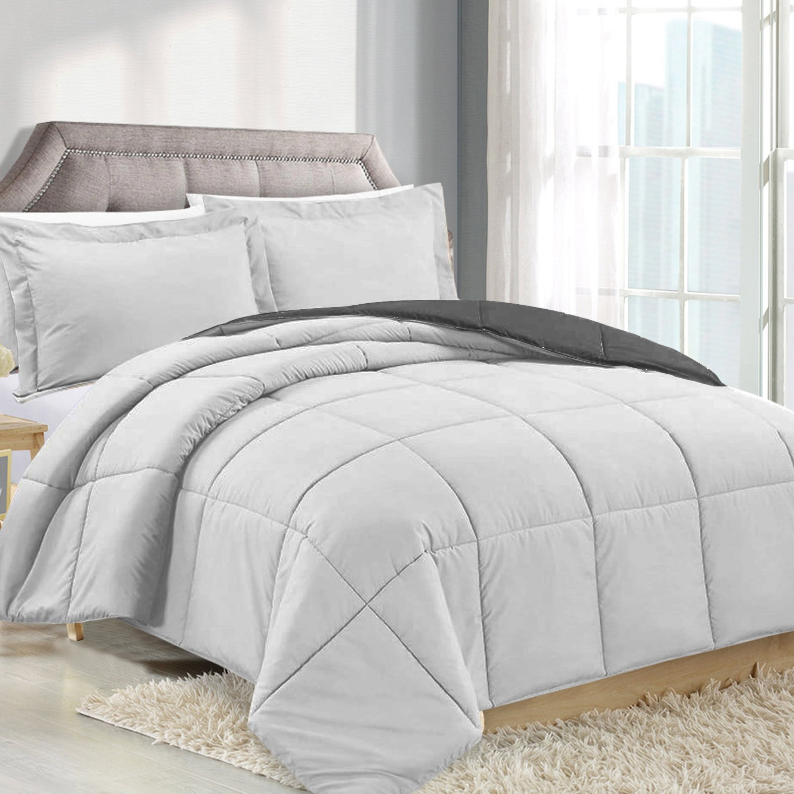 King Comforter Reversible Duvet Insert - Silver/Gray - Hypoallergenic, Plush Siliconized Fiberfill, Box Stitched, Luxury Goose Down Alternative Comforter, Protects Against Dust and Allergens
