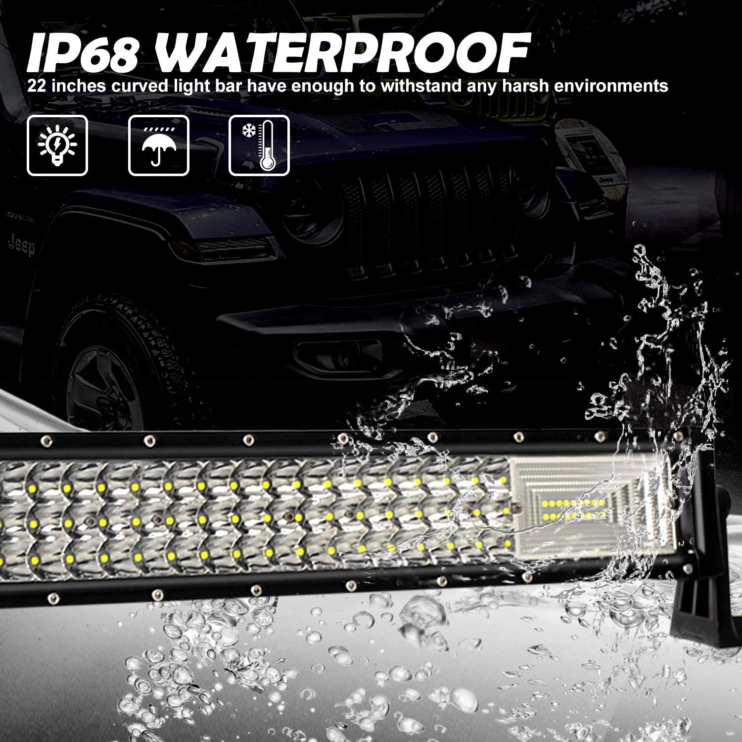 SUV Jeep 22 LED Light Bar with Wiring Harness UTV EBESTauto 270W Curved LED Bar Light for Truck 27000LM LED Bar Spot Flood Combo Beam LED Driving Offroad Light for Truck Boat LED Work Light ATV