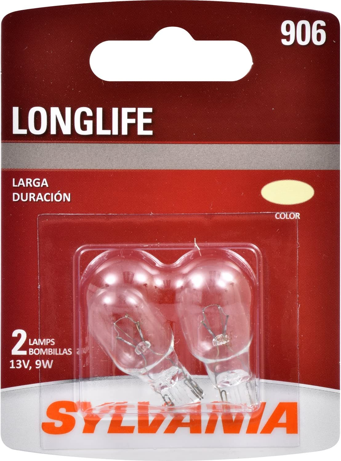 SYLVANIA - 906 Long Life Miniature - Bulb, Ideal for Interior Lighting – Cargo, License Plate and More. (Contains 2 Bulbs)
