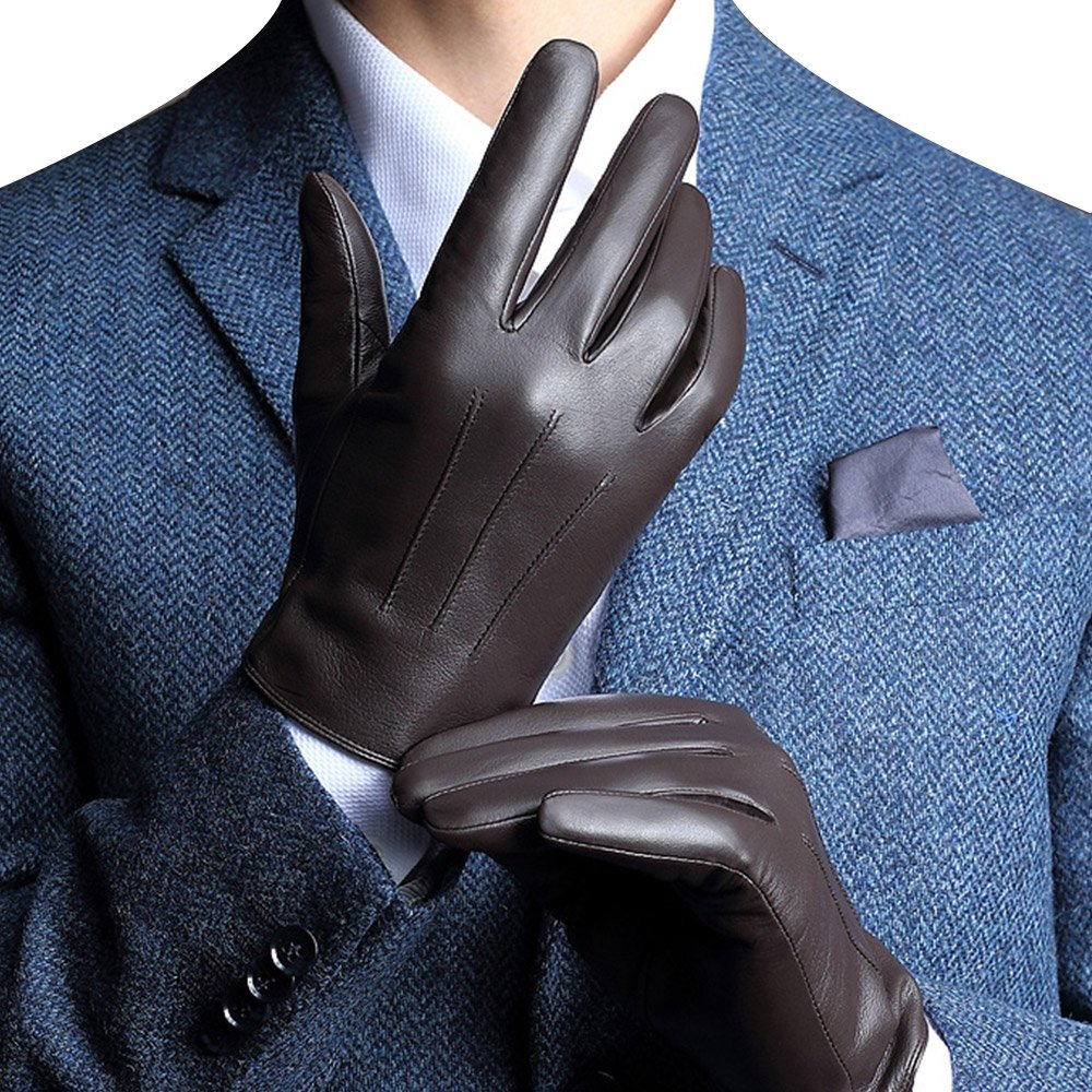 Harrm Best Luxury Winter Touchscreen Gloves Italian Nappa Leather Gloves men's Texting Driving Gloves (Cashmere Lining)