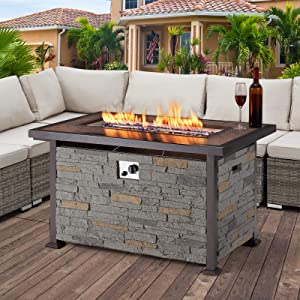 U-MAX Outdoor Propane Gas Fire Pit Table, 44 Inch 50,000 BTU Gas Auto-Ignition Rectangle Firepit for Patio with Green Faux Stone Surface,Tempered Glass Lid & Glass Stone Rock CSA Certification