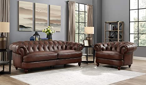 Awesome Hydeline Newport 100 Leather Set Sofa And Chair Brown Bralicious Painted Fabric Chair Ideas Braliciousco