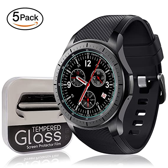 [5-Pack] SYOSIN Compatible Samsung Gear S3 Frontier / Classic & Galaxy Watch 46mm Screen Protector [Full Screen Coverage] [0.3mm 2.5D High Definition ...