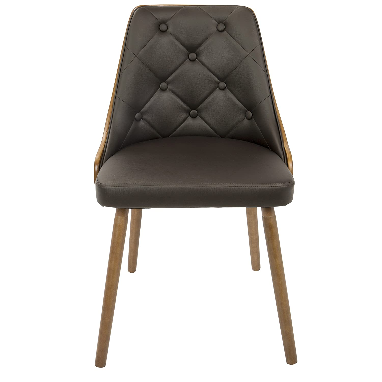 LumiSource CH-JY-GNN WL+BN Gianna Contemporary Dining Chair Walnut//Brown