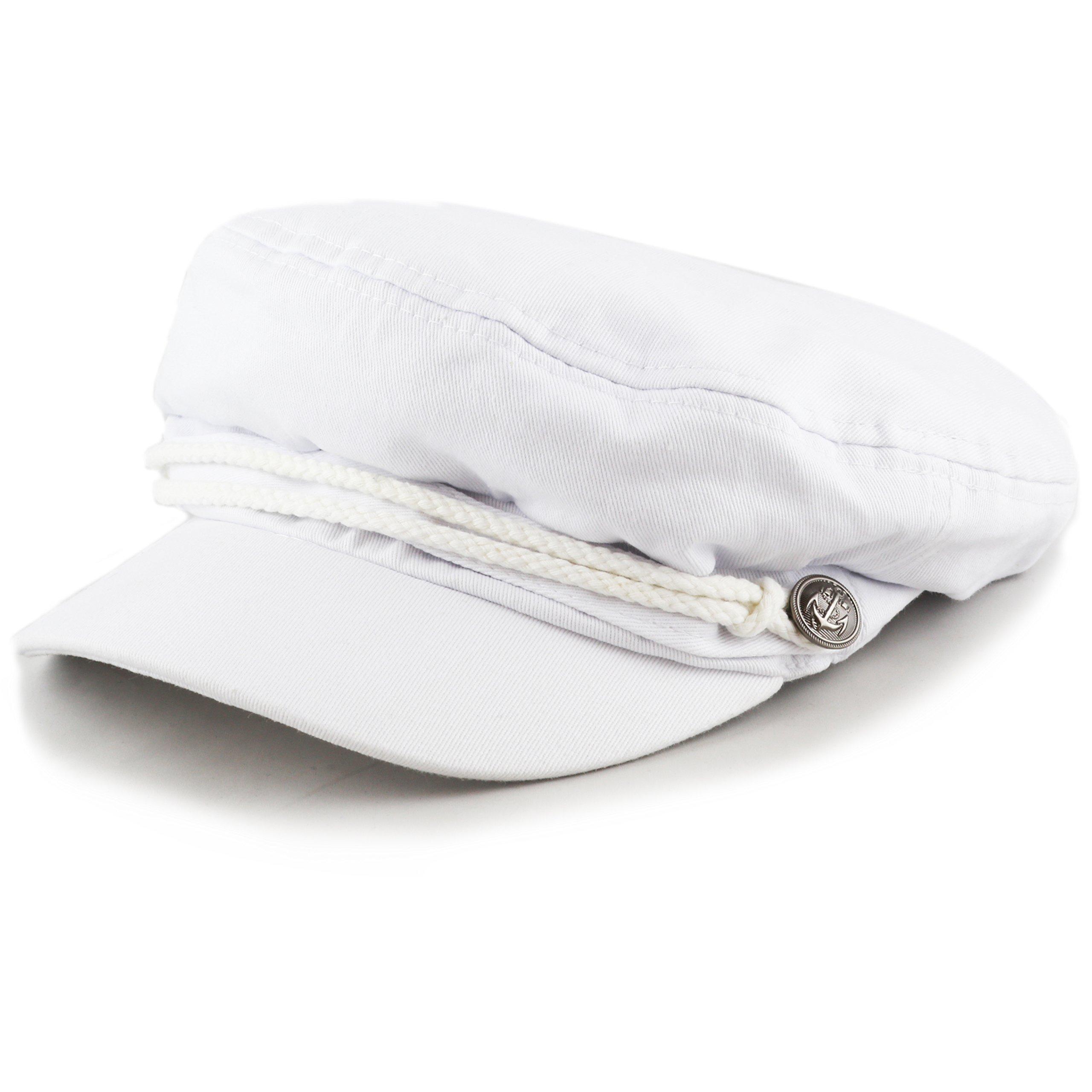 THE HAT DEPOT Black Horn Kids Cotton Greek Fisherman's Sailor Fiddler Driver Hat Cap … (White)