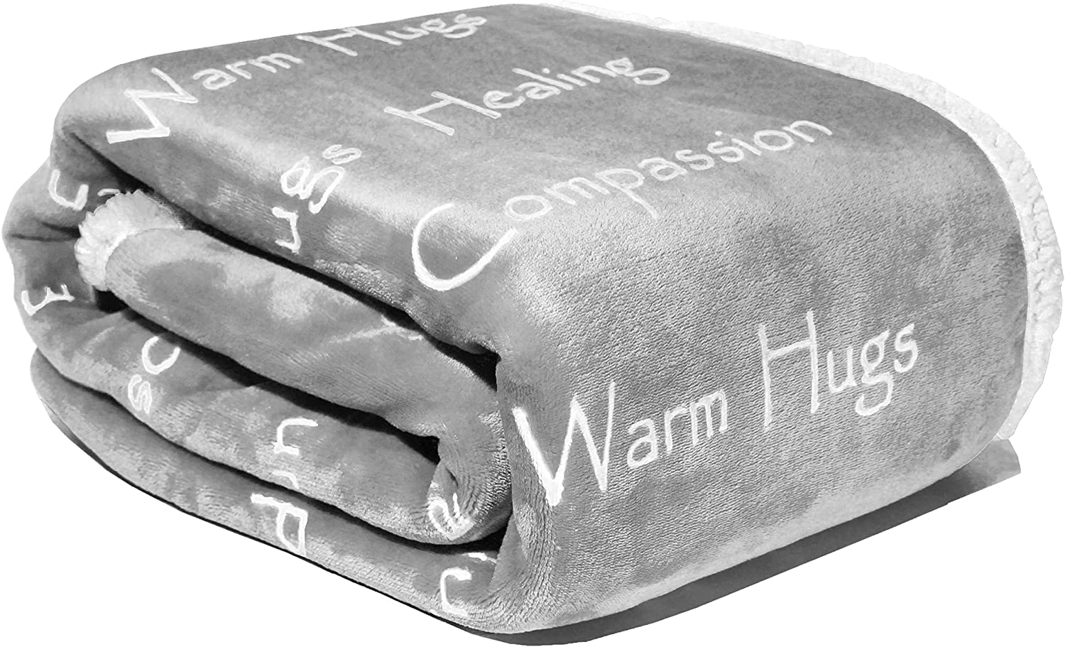 Compassion Blanket - Warm Hugs & Positive Energy Gift for Men, Women & Children - Healing Thoughts Positive Energy Courage Soft Fluffy Comfort & Caring (50 x 65 Silver Gray)