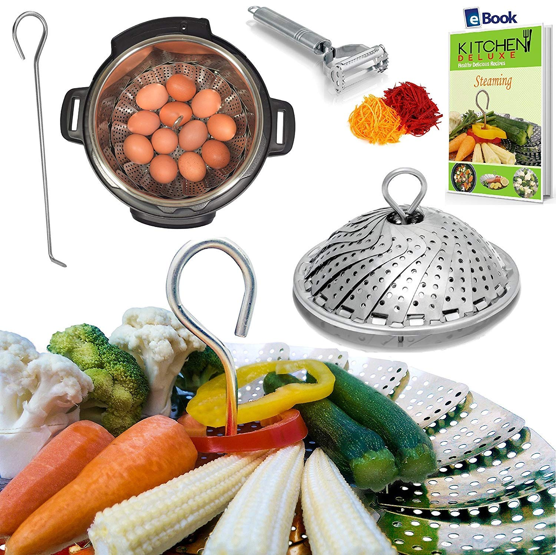 PREMIUM Vegetable Steamer Basket - BEST Bundle - Fits Instant Pot Pressure Cooker 3,5,6 Qt & 8 Quart - 100% Stainless Steel - BONUS Accessories - Safety Tool + eBook + Peeler | For Instapot - Egg Rack by kitchen deluxe (Image #1)