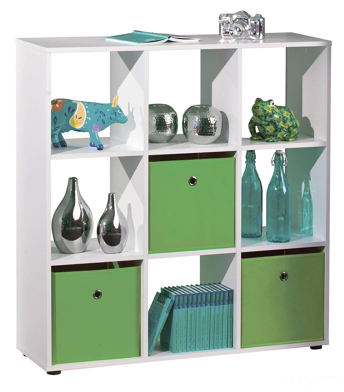 H24living Bücherregal Standregal Raumteiler Aktenregal mit 9 Fächer weiß, Regalsystem als Mehrzweckregal für Kleidung, Schuhe oder Akten