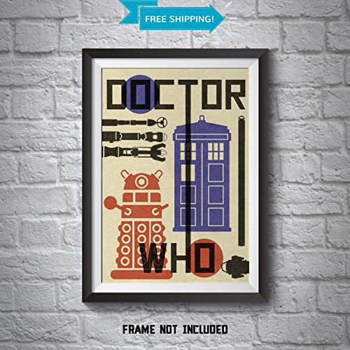 Doctor Who Poster   Dr Who Bauhaus Style Wall Art Print   The Doc Who Home
