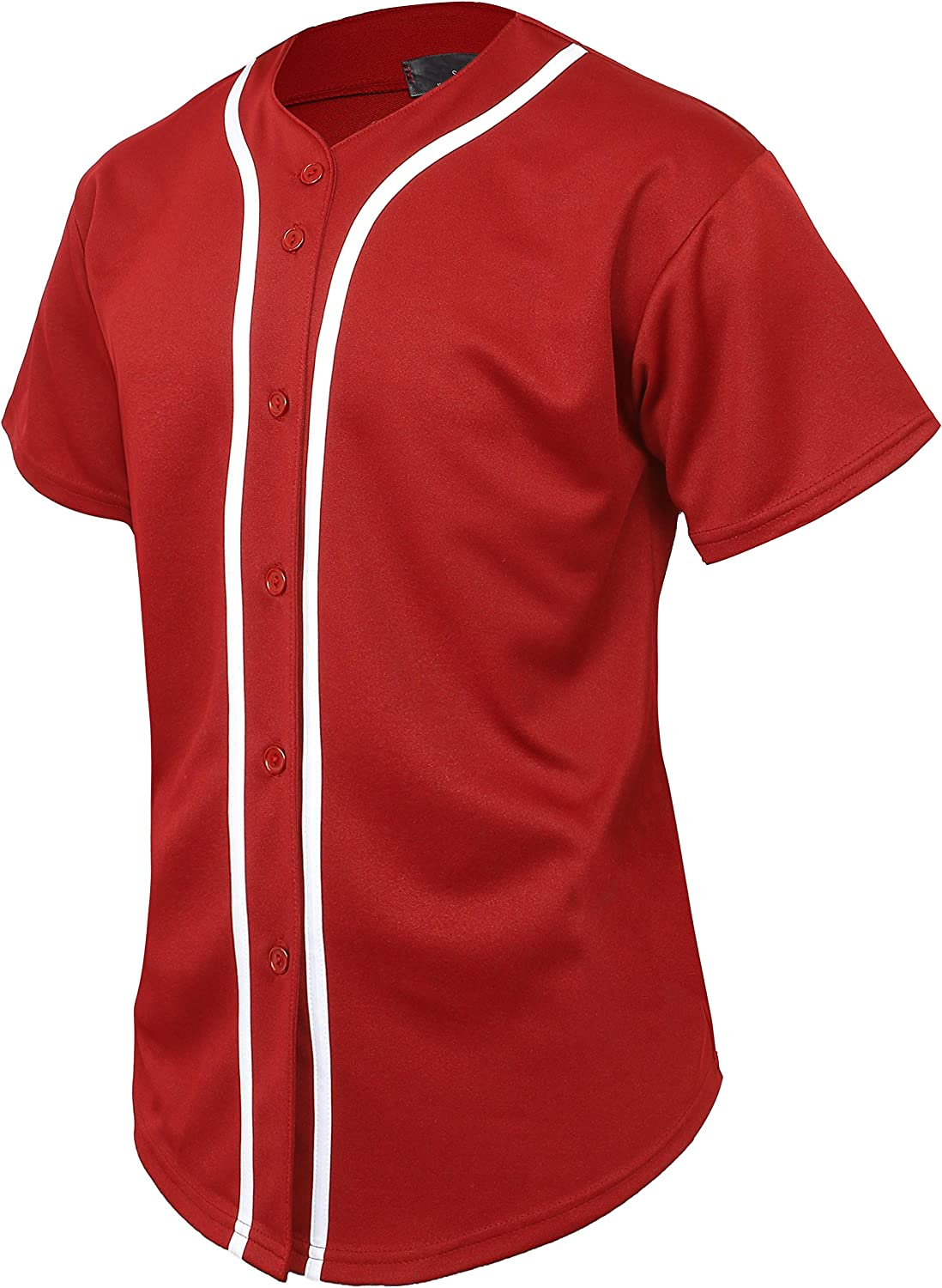 X-Large, 01 Red//White Hat and Beyond Mens Baseball Jersey Button Down T Shirts Hipster Plain Hip Hop 1UPA02