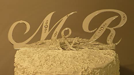 Amazon.com: Monogram Wedding Cake Topper Set with Rhinestones ...