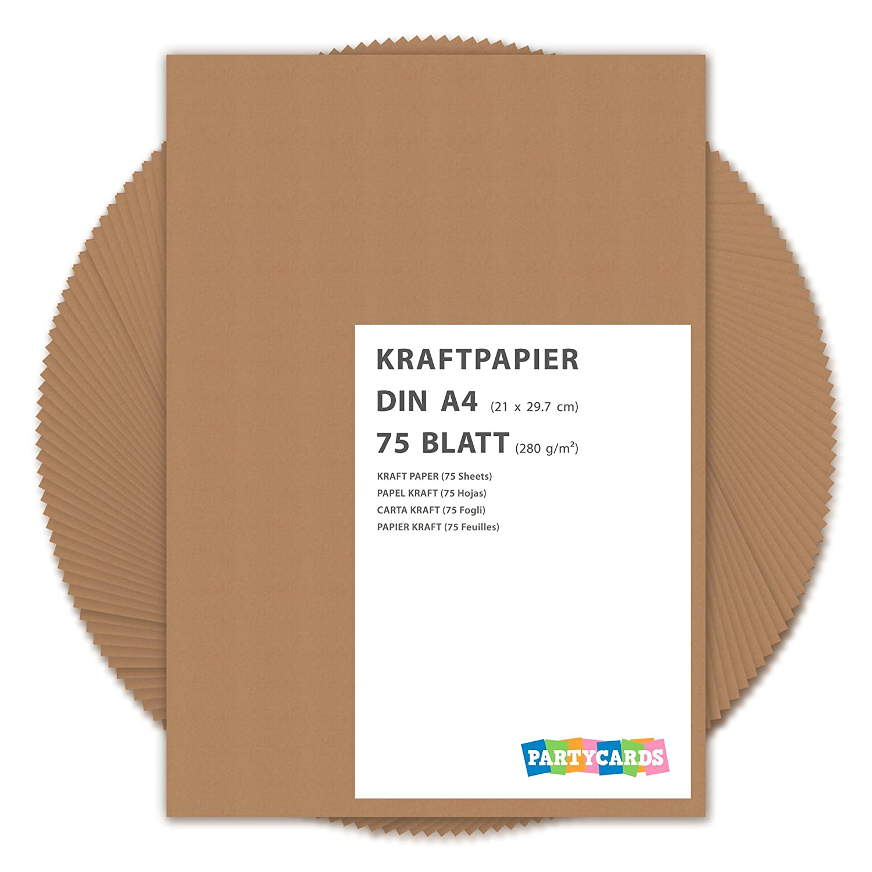 75 fogli di Carta Kraft DIN A4 280 gr/mq Natura in cartone di alta qualità Ideale per FAI DA TE E (DIY) Marrone invito matrimonio carte rattoppare Partycards KP-75/2017