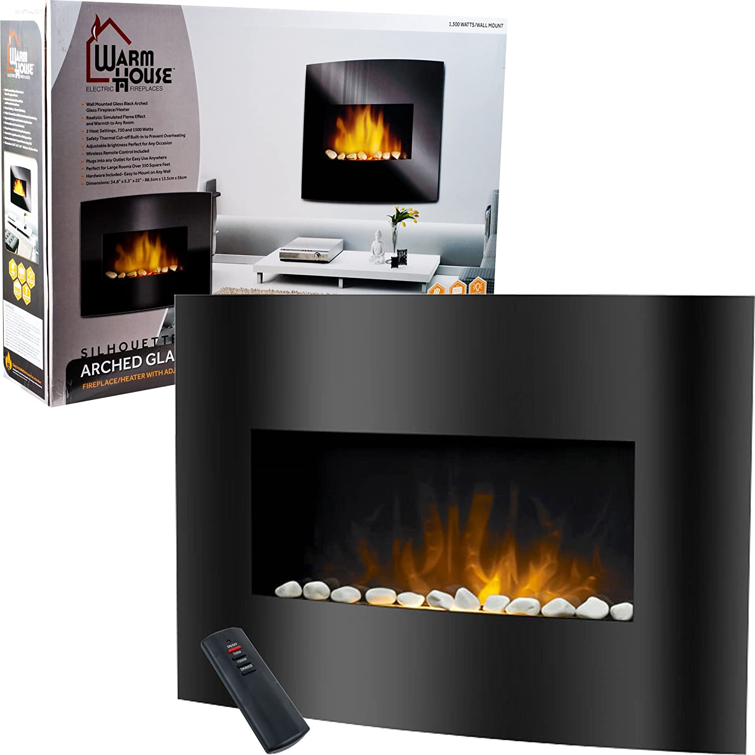 Amazon com  Warm House Black Arched Glass Electric Fireplace  Kitchen    DiningAmazon com  Warm House Black Arched Glass Electric Fireplace  . Electric Wall Fireplace Heaters. Home Design Ideas