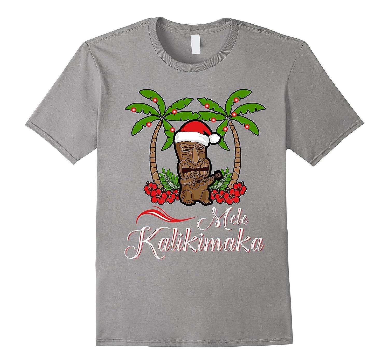 Tiki Mele Kalikimaka Merry Christmas T-Shirt Hawaii Ukulele-BN ...