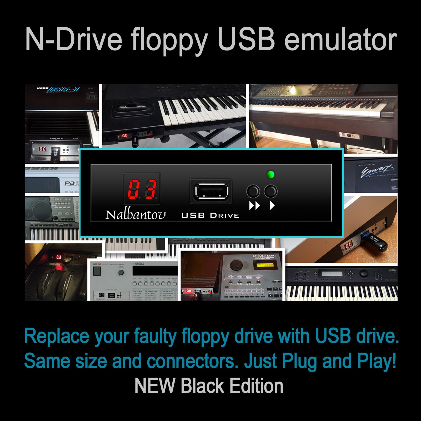 Nalbantov USB Floppy Disk Drive Emulator for Ensoniq ASR-10 ~ OS included ~ by Nalbantov Electronics