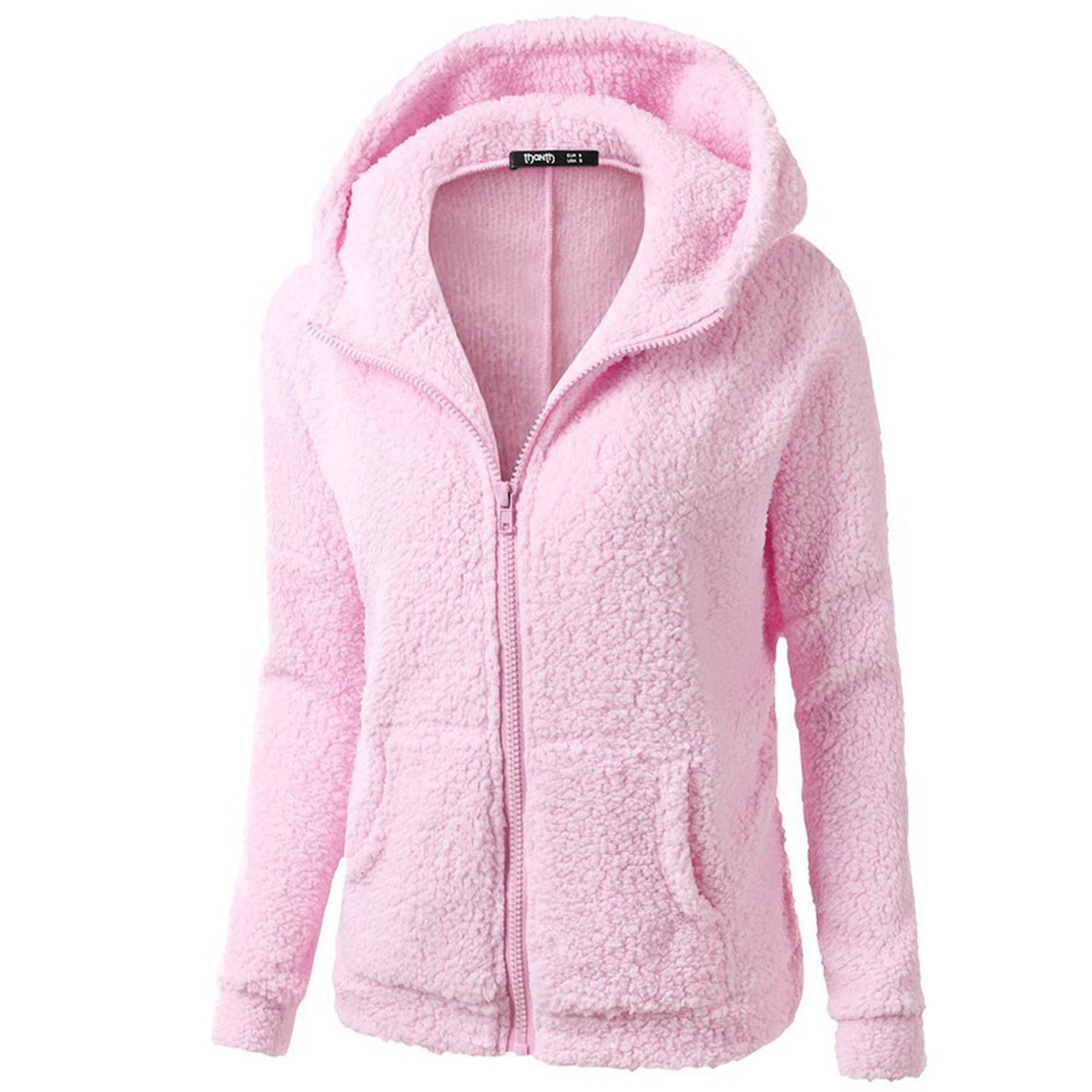 Clearance! sfe Women Winter Faux Fur Hoodie Cotton Jacket Fashion Solid Color Warm Coat Down Jacket (Pink, L)