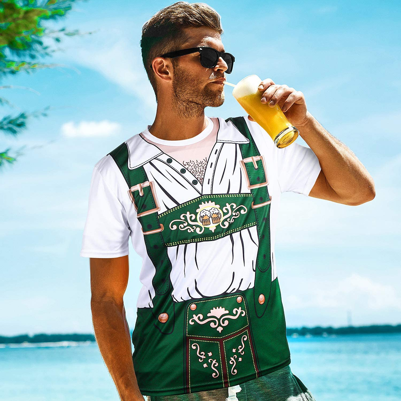 Camisetas con Mangas Cortas 3D Oktoberfest de Hombres para Disfraz de Festival de Cerveza B/ávaro
