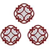 Bombay Curl Wall Mirrors, 15-Inch, Red, Set of 3