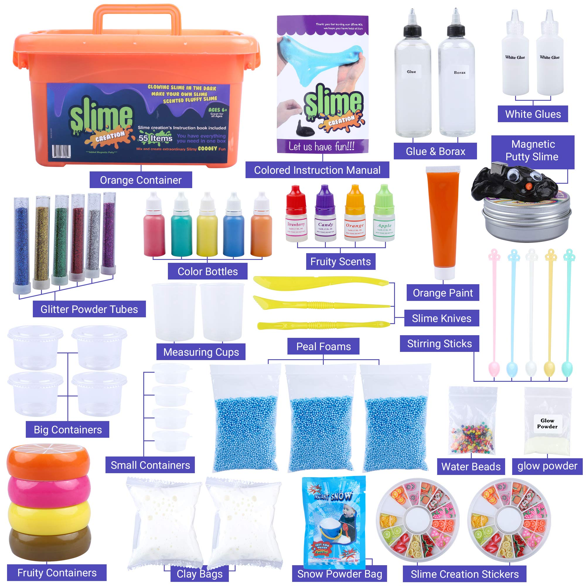 Slime Kit Supplies for Girls & Boys: 55 Piece DIY Kits for Kids with Activator Ingredients, Glue, Foam Beads, Glitter - Set with Everything for Making Fluffy, Clear, Rainbow, Magnetic & Scented Slimes by Slime Creation (Image #2)