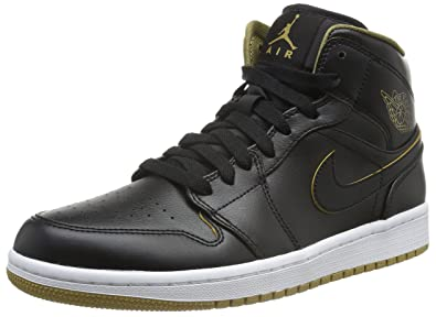 the best attitude 6db18 b7db1 ... uk nike mens air jordan 1 mid black metallic gold white basketball shoe  7.5 32cde f45ea