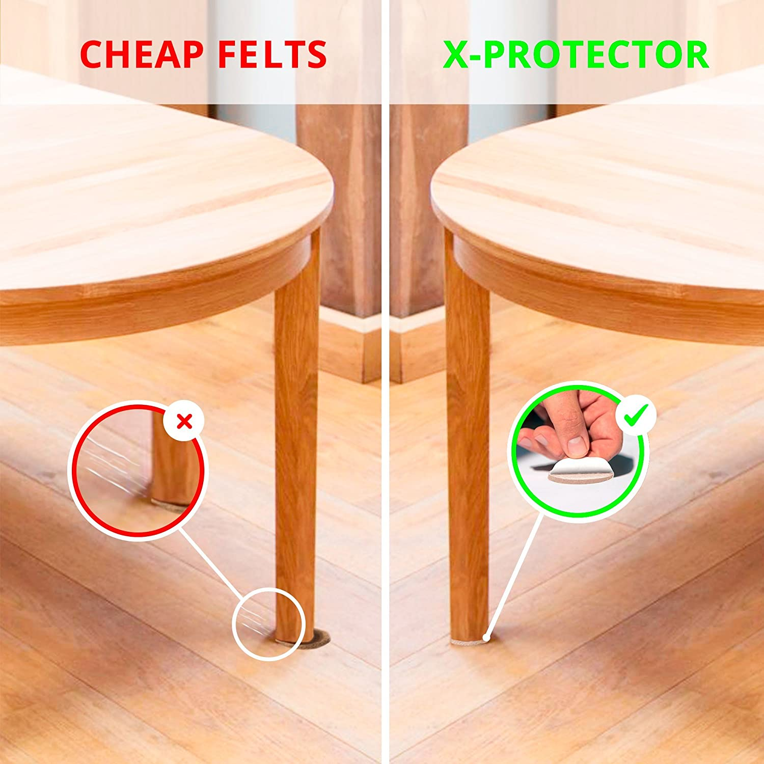 X PROTECTOR Premium ULTRA LARGE Pack Furniture Pads 181 piece