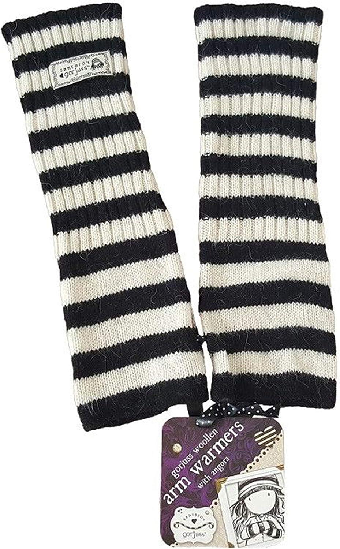 Santoro London Womens Woolen Arm Warmers Black /& White Striped Designer
