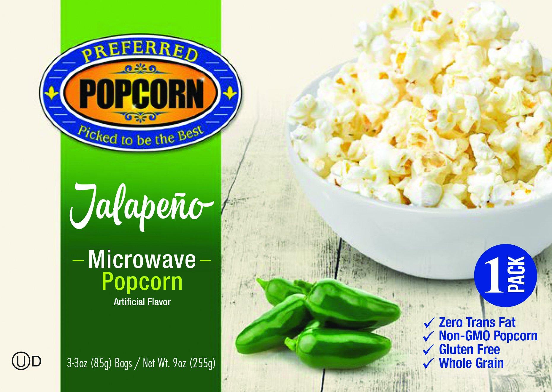 Microwave Jalapeno Popcorn - 100% Farmer Owned - Preferred Popcorn - All Natural - Spicy Snack - One 3.0 oz Bag -USA Nebraska Made - Premium Popcorn - Gluten Free - NonGMO - Whole Grain Fresh Popcorn