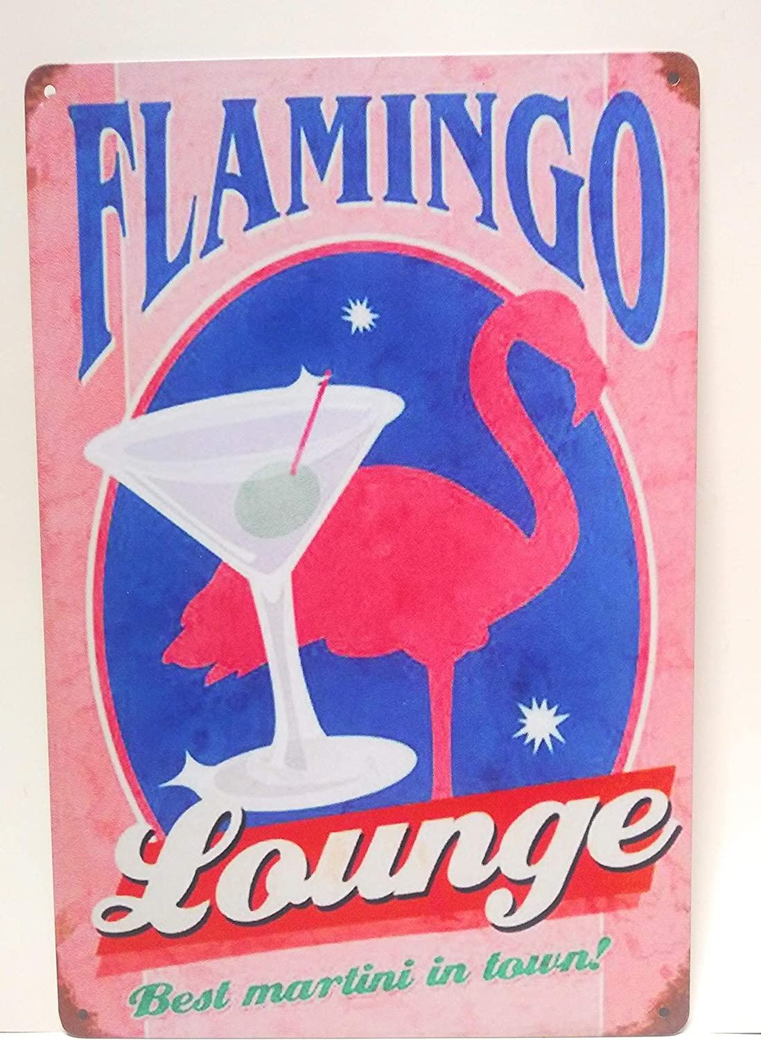 Flamingo Lounge. Best Martini in Town Metal Tin Sign, Cocktail Sign, Man Cave Sign, Kitchen Decor, Business Sign, Funny Sign, 8-inch by 12-inch Sign | TSC345 |