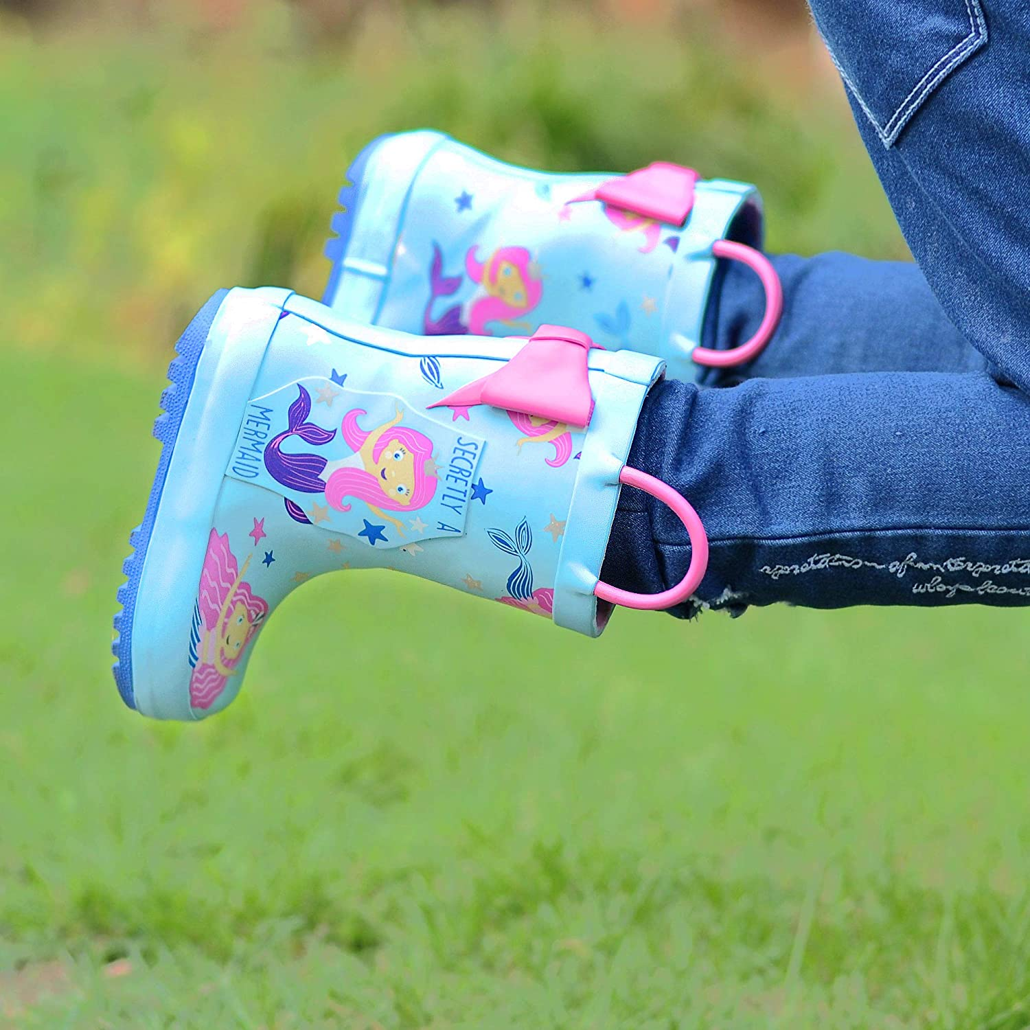 Kids Rainboots with Easy on Handles for Toddler Baby Boys Girls