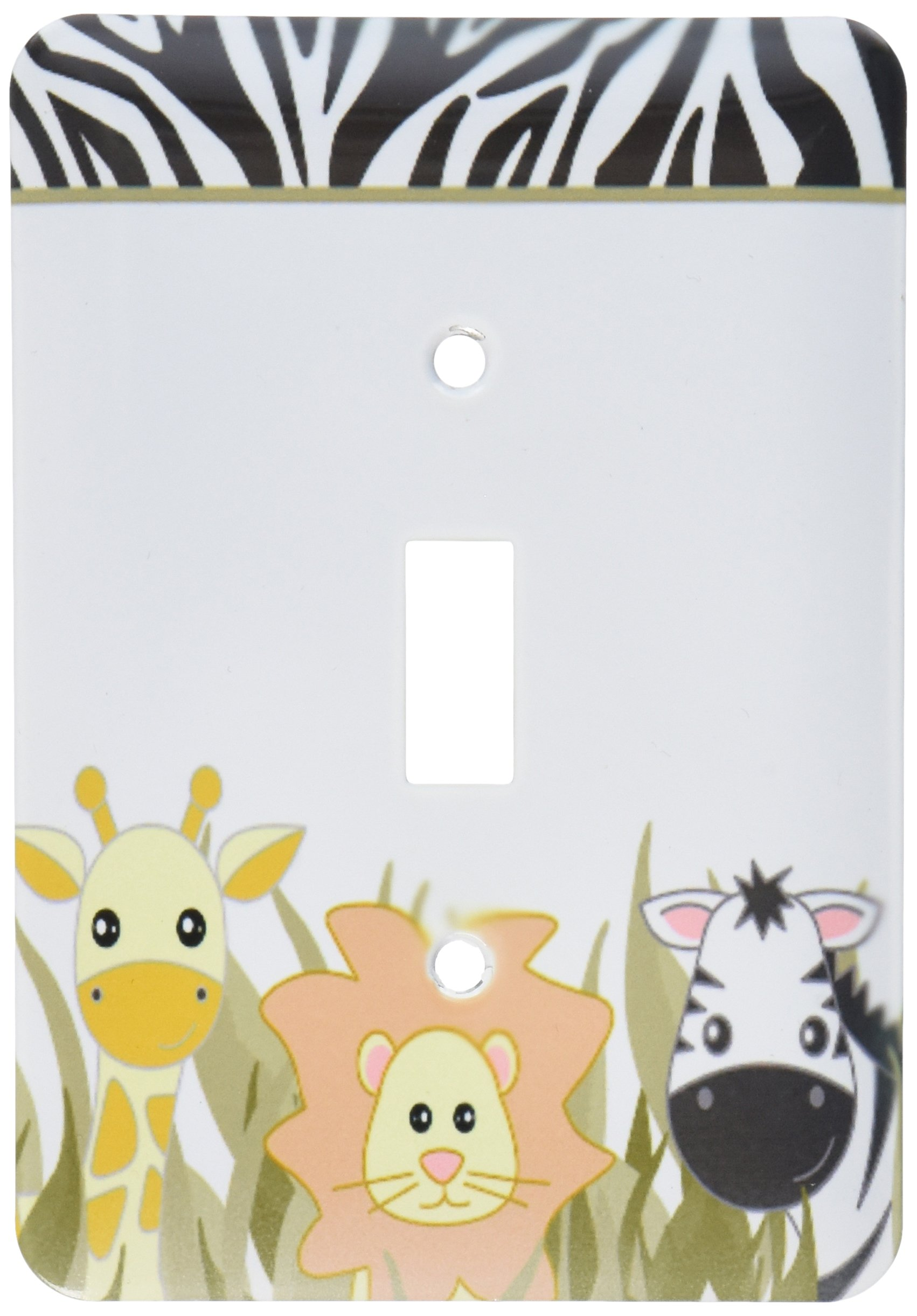 3dRose LLC lsp_128530_1 Cute Baby Jungle Animals On White Giraffe Lion Zebra Single Toggle Switch by 3dRose