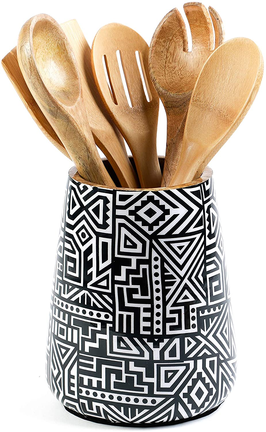 Kitchen Utensil Holder or Utensil Crock, Large Decorative Wooden Utensil  Organizer for Spatula, Spoon or Any Cooking Tools, Mango Wood, Tribal Black