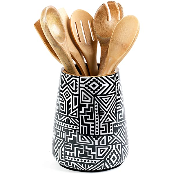 Milltown Merchants/™ Faceted White Utensil Holder Ceramic Utensil Holder Utensil Crock Utensil Caddy//Container Kitchen Utensil Holder