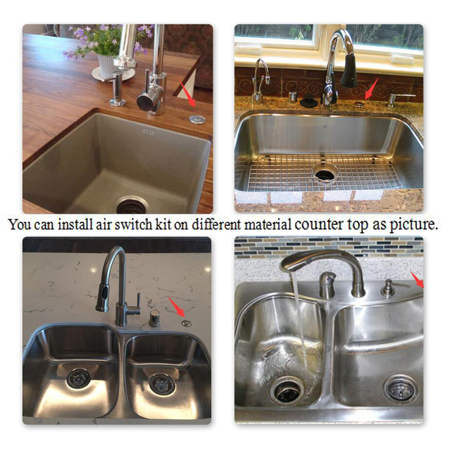 Sink Top Air Switch Kit Garbage Disposal Part Built Out