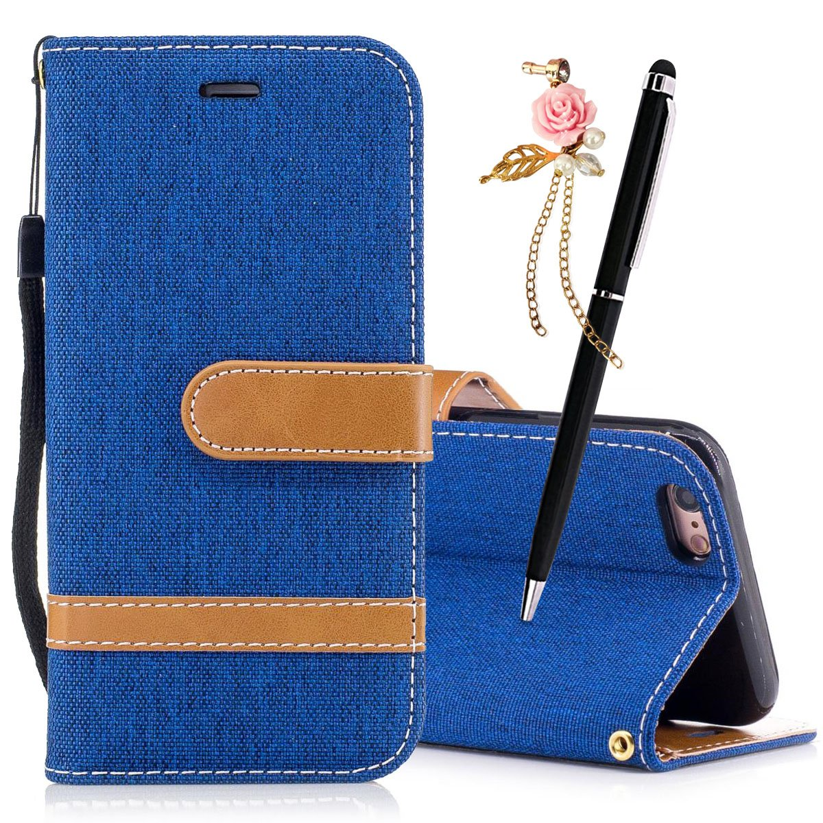 MEETER Coque PU Cuir pour iPhone 6 Plus / iphone 6S Plus Etui Pochette Portable Flip Wallet Housse Mode Bookstyle Case Porte Carte Cas Back Cover Souple Fonction Stand Spécial Magnetique Dustproof Protective Fente de Carte - Rouge