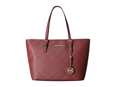870ea07d9609 Amazon.com  Michael Kors Jet Set Merlot Tote Stitch quilted leather Hand Bag  30F5GTVT5T NEW  Michael Kors  Shoes