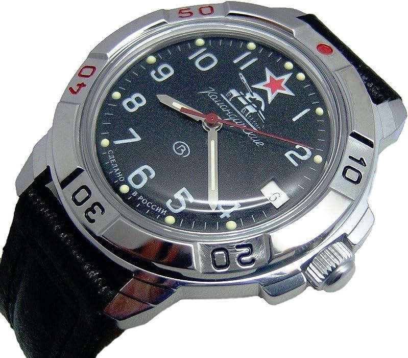 Vostok KOMANDIRSKIE Militar ruso reloj Comandante de tanque negro 2414/431306