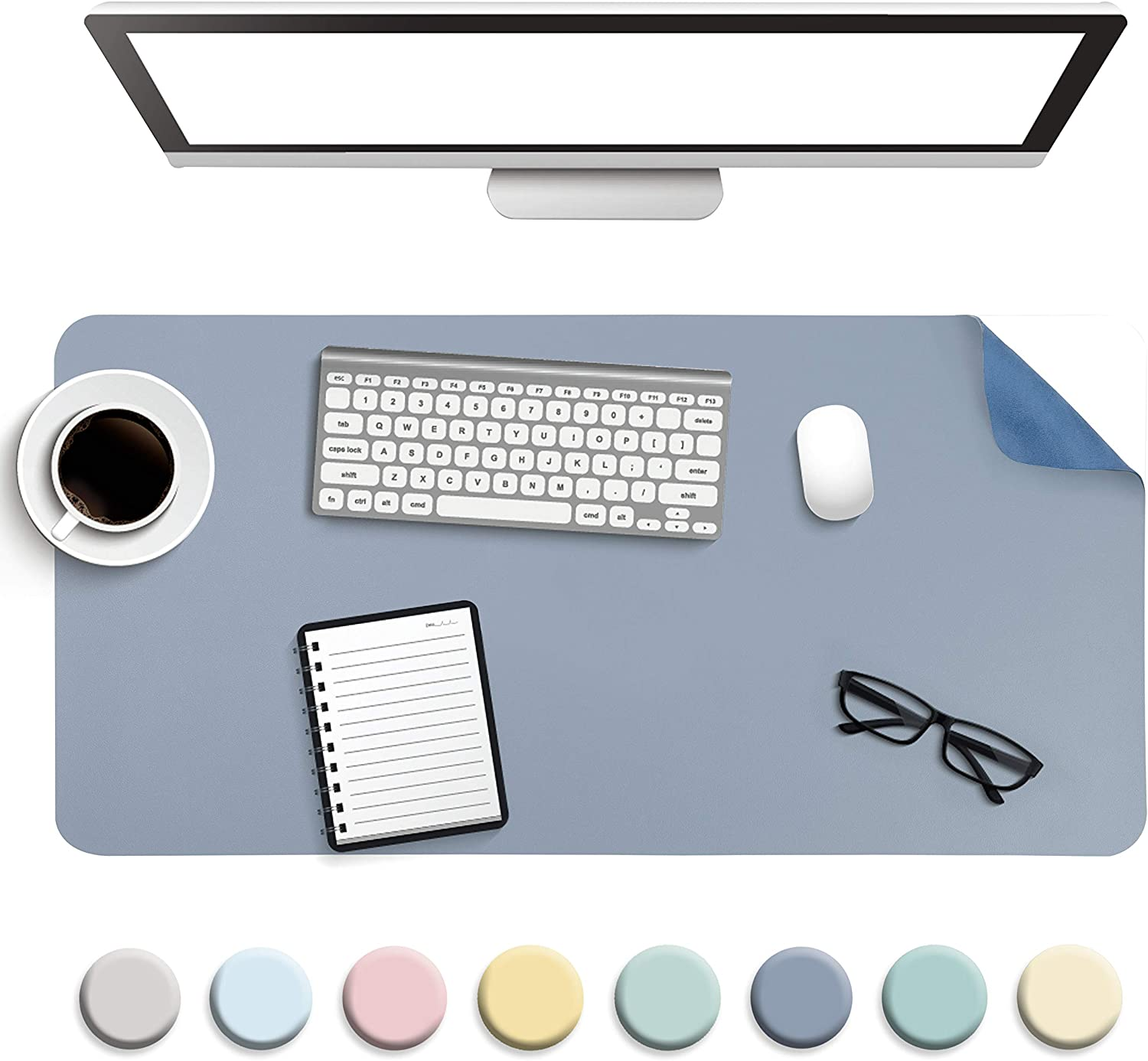 "Non-Slip Desk Pad, Waterproof PVC Leather Desk Table Protector, Ultra Thin Large Mouse Pad, Easy Clean Laptop Desk Writing Mat for Office Work/Home/Decor (Blue, 31.5"" x 15.7"")"