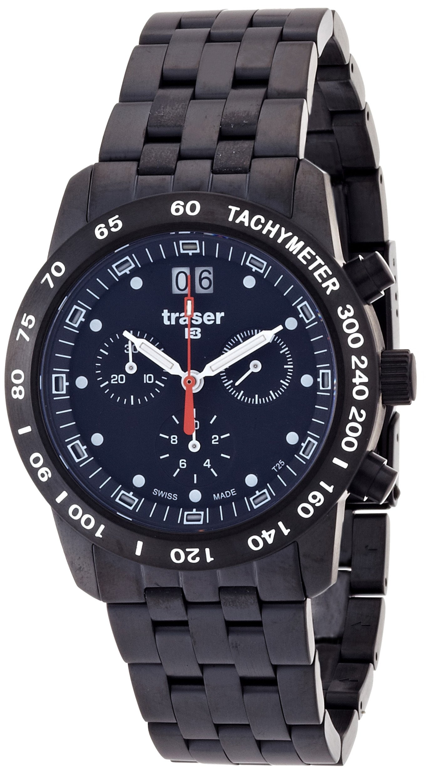 Black Stainless Steel Classic Chronograph by Traser H3