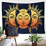 "BLEUM CADE Psychedelic Tapestry Indian Moon and Sun with Many Fractal Faces Tapestry Celestial Energy Mystic Tapestries Wall Hanging Tapestry for Bedroom Living Room Dorm (51.2""X59.1"", Face)"