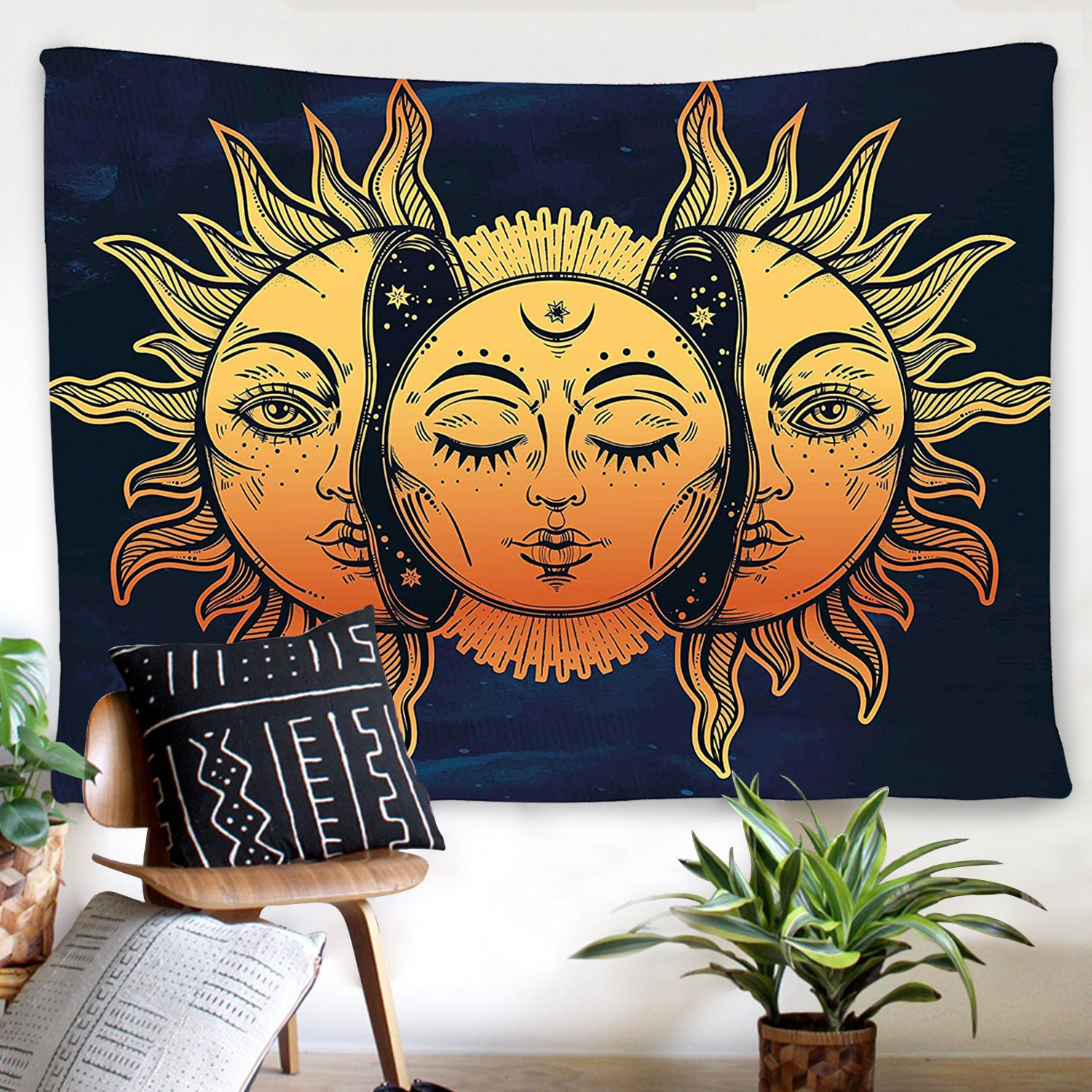 BLEUM CADE Psychedelic Tapestry Indian Moon Sun Many Fractal Faces Tapestry Celestial Energy Mystic Tapestries Wall Hanging Tapestry Bedroom Living Room Dorm (59.1''X82.7'', Face)