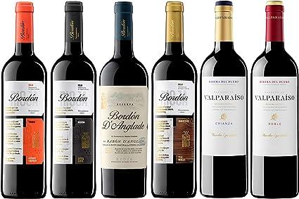 Pack Vinos Tintos de España (6 Botellas) - 1 Bordón Crianza + 1 Bordón Reserva + 1 Bordón DAnglade Reserva + 1 Bordón Gran Reserva + 1 Valparaíso Roble + 1 Valparaíso Crianza: Amazon.es: Alimentación y bebidas