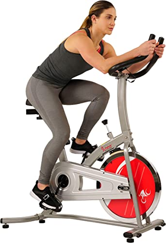 Sunny Health Fitness Indoor Exercise Stationary Bike with Digital Monitor and 22 LB Chromed Flywheel