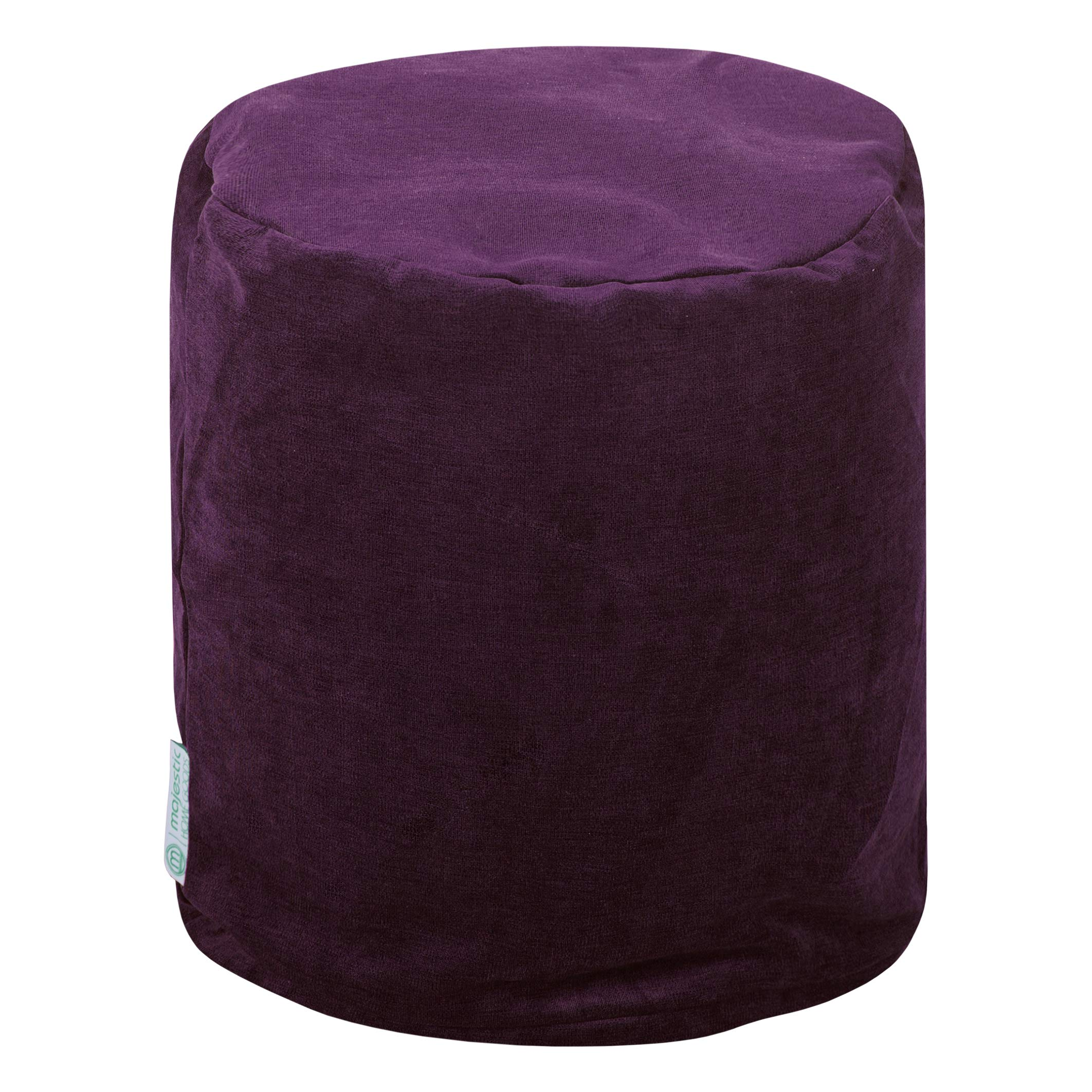 Majestic Home Goods Aubergine Villa Indoor Bean Bag Ottoman Pouf  16'' L x 16'' W x 17'' H