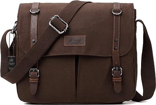 Tablet Friendly Shoulder Bag TRP0426 Dark Brown Troop London Heritage Canvas Leather Messenger Bag Canvas Leather Satchel