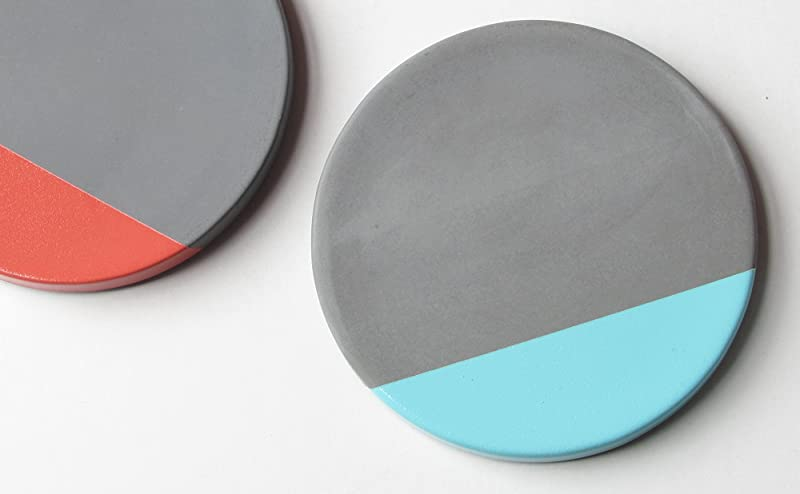 Concrete coasters with a pop of color, Hand made in Wisconsin, USA