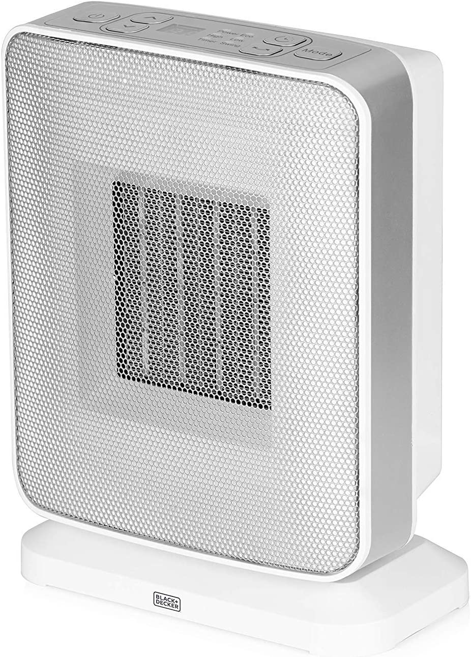 White BLACK+DECKER BXSH37001GB Ceramic Lightweight Portable Fan Heater with 360 Degree Distribution and 2 Heat Setting and Cool Air Blow Function 1500 W