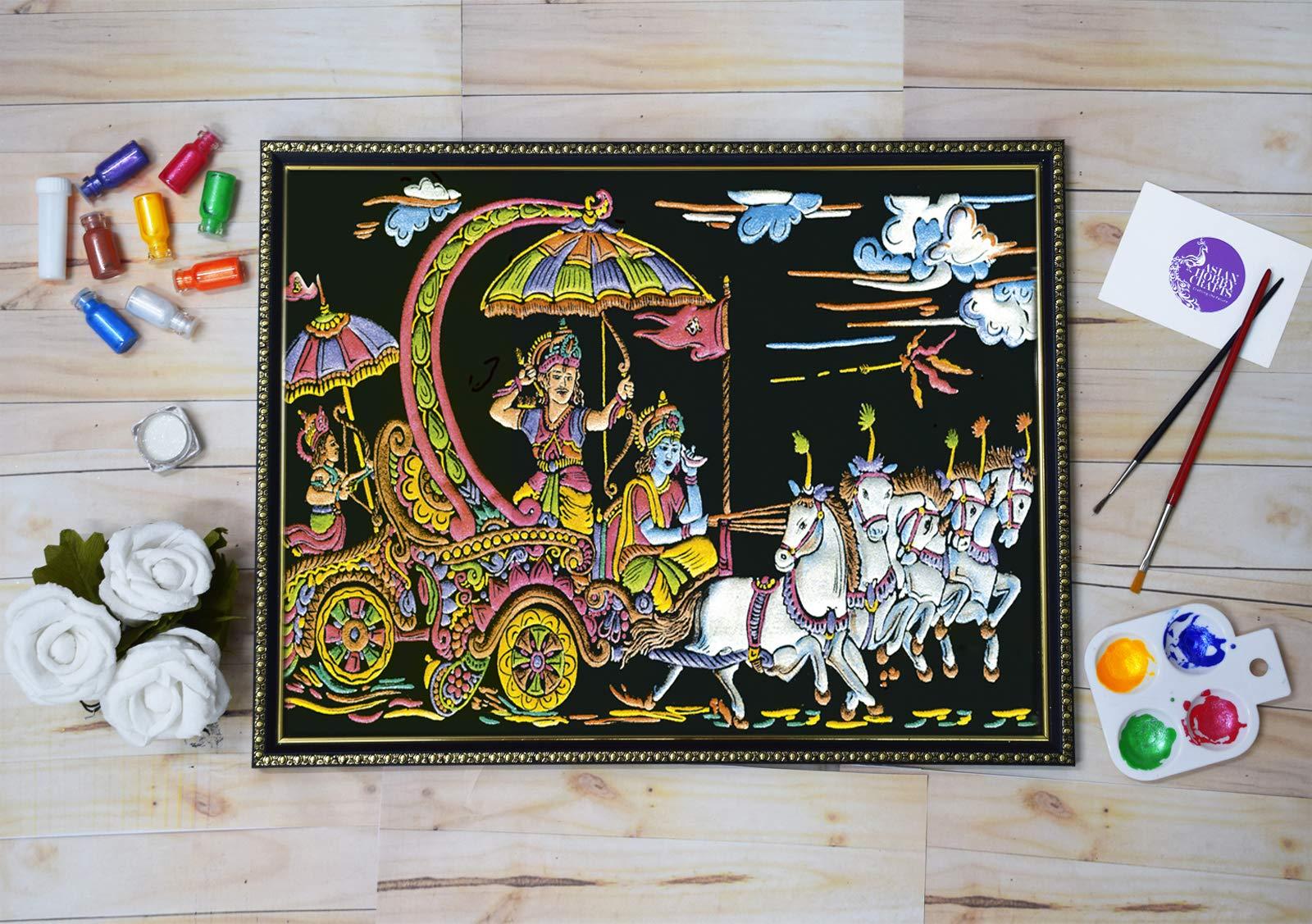 Asian Hobby Crafts Emboss Painting Kit – Velvet Fabric, Pearl Colors, Glitter, Paint Brush (Design 353)