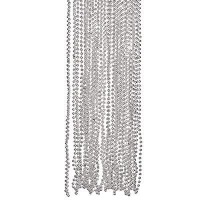 SILVER METALLIC BEADS NECKLACE (4DZ) - Jewelry - 48 Pieces: Toys & Games