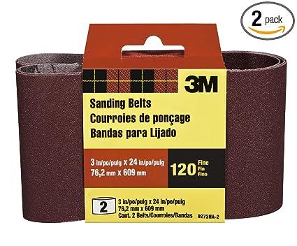 3M 9272NA-2 Heavy Duty Power Sanding Belts, 3-Inch by 24-Inch, Fine Grit,  2-pack